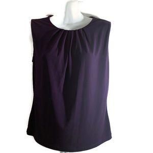Calvin Klein sleeveless blouse teal Ruching ps
